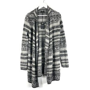 LUCKY BRAND Jacquard Printed Open Cardigan Long L